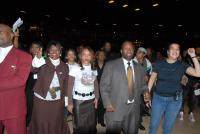 Lemmie Battles, Rev Meeks and Lady Jamel Meeks enjoy the concert