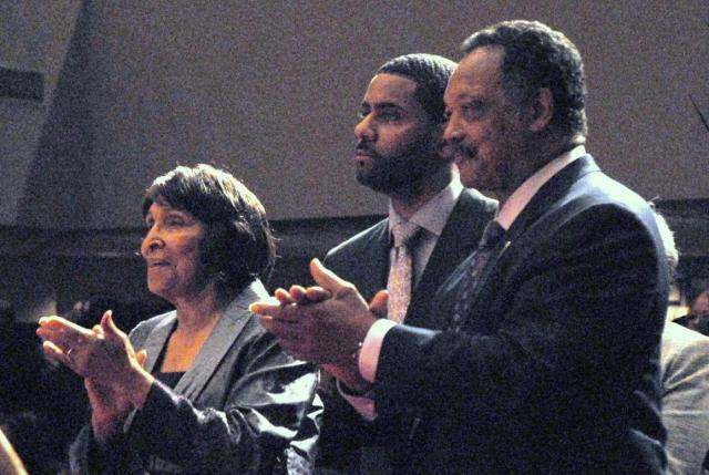 Inez Andrews, Rev Otis Moss, III and Rev Jesse Jackson enjoy the Brown Sisters