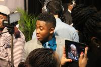 Joshua Rogers in the midst of the press at the Stellars