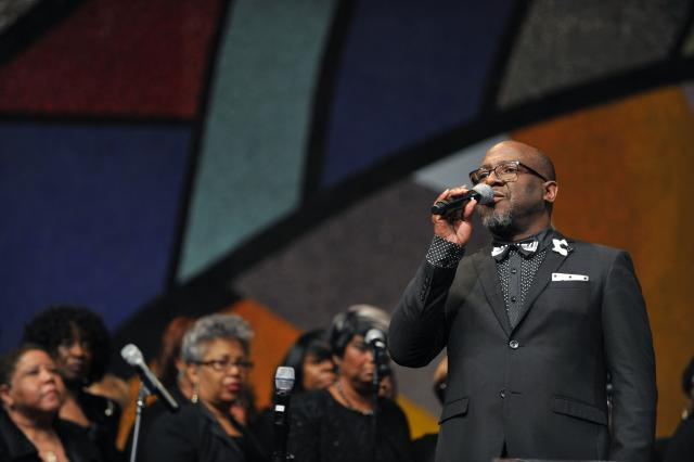 The LA Chapter of the Gospel Music Workshop of America sings