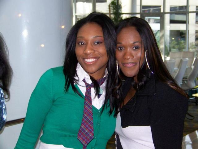 Rapper Susie Rock hangs with Luncheon host Damita Haddon