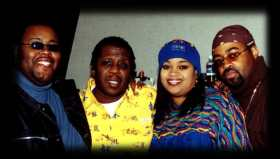 Darwin Hobbs, producer Sanchez Harley, Karen Clark-Sheard and J. Moss of PAJAM at the recording session for the song, King