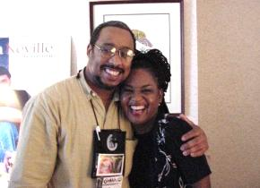Walt Cooper of WZZD-AM Lafayette Hill, PA with Lin. Woods, Gospel Editor of Urban Network